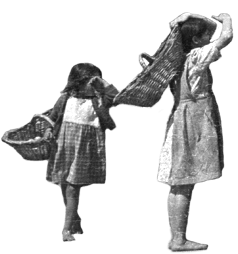 niñas mirando con canastos