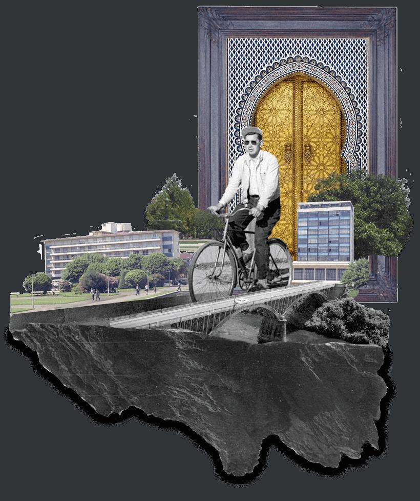 collage de un ciclista sobre un puente y edificios alrededor